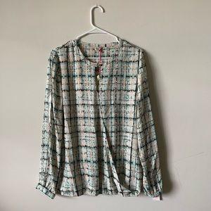Cremieux plaid surplice long sleeve blouse